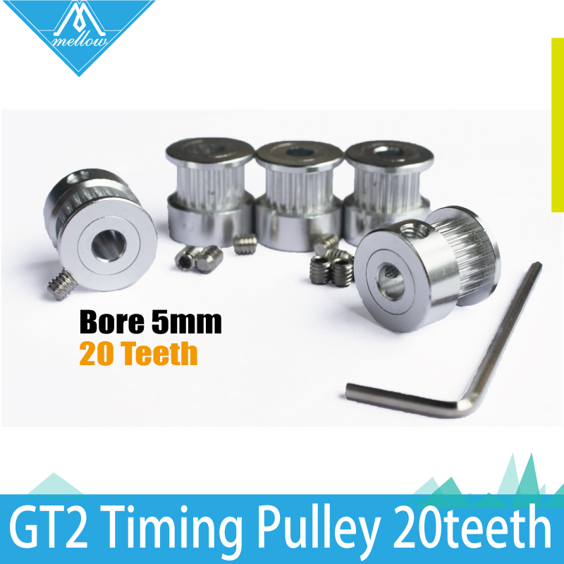 5pcs 3D printer accessories GT2 Timing Pulley 20 teeth Aluminum Bore 5mm fit for GT2 belt Width 6mm Synchronizing wheel 3d printer aluminum alloy 20 teeth timing belt pulley for s2m 2gt silver