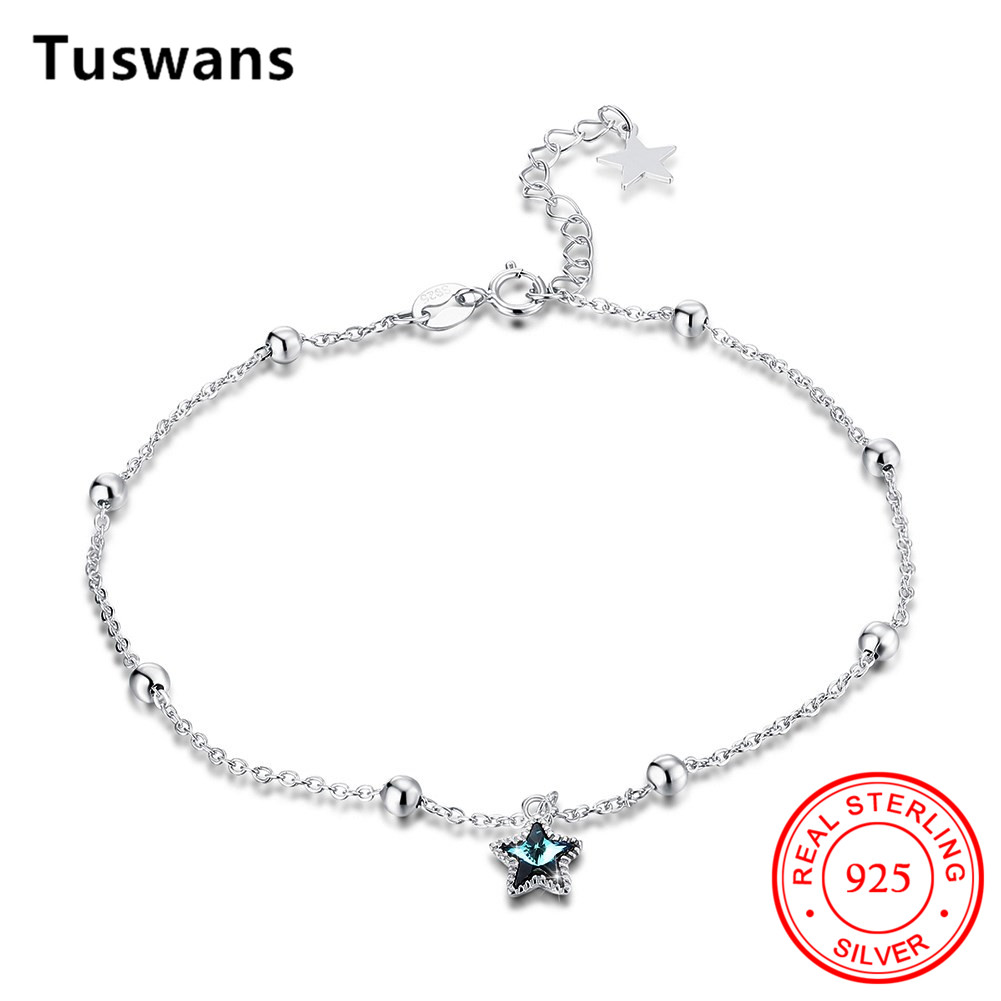 Popular Exquisite Summer Seaside Beach Gypsophila anklet For Women Sexy Jewelry Gifts 100% 925 Sterling Silver Green Crystal