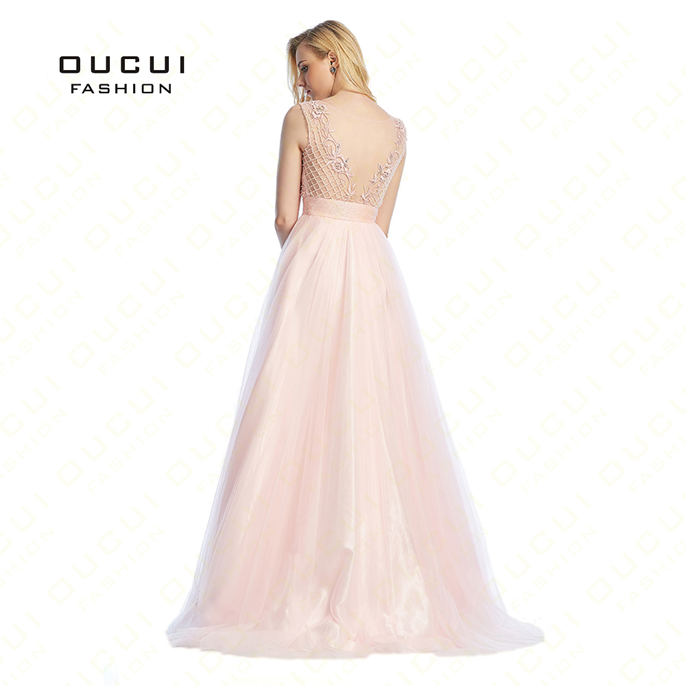 Tulle Beading V Backless Long   Prom     Dress   2019 Princess Ball Gown Sweep Train Arabic   Dresses   Party Vestido Real Photo OL102864
