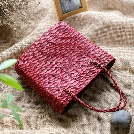 Vintage straw tote bag storage bag woven shopping bag shoulder bag ethnic style woven handbag 5
