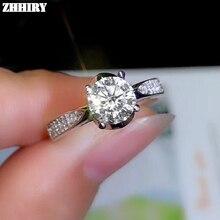 цена ZHHIRY Genuine Moissanite 925 Sterling Silver Ring For Women Rings 1ct 6.5mm D VVS1 Round Cut With Certificate Fine Jewelry онлайн в 2017 году