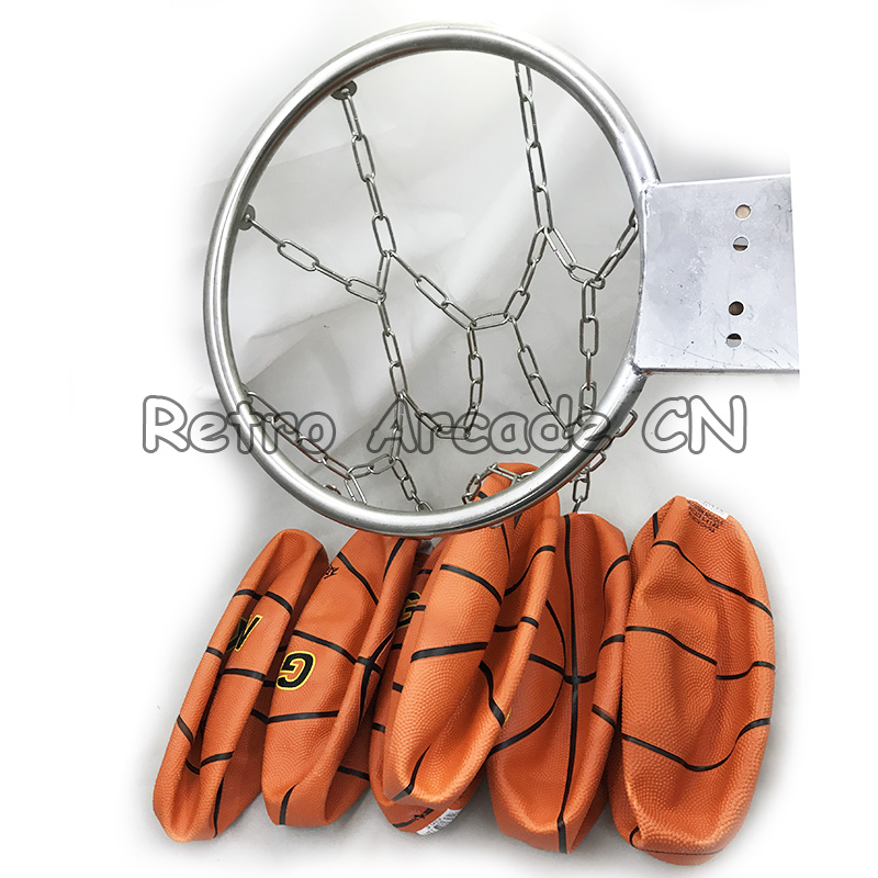 1pcs stainless Basketball rim and 6pcs rubber basketballs spare parts for DIY arcade basketball game cabinet machine1pcs stainless Basketball rim and 6pcs rubber basketballs spare parts for DIY arcade basketball game cabinet machine