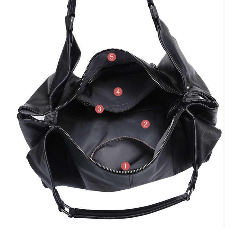 Zency большой емкости Женские сумки на плечо 100% натуральная кожа сумка модные черные вместительные женские сумки через плечо большая сумка для покупок
