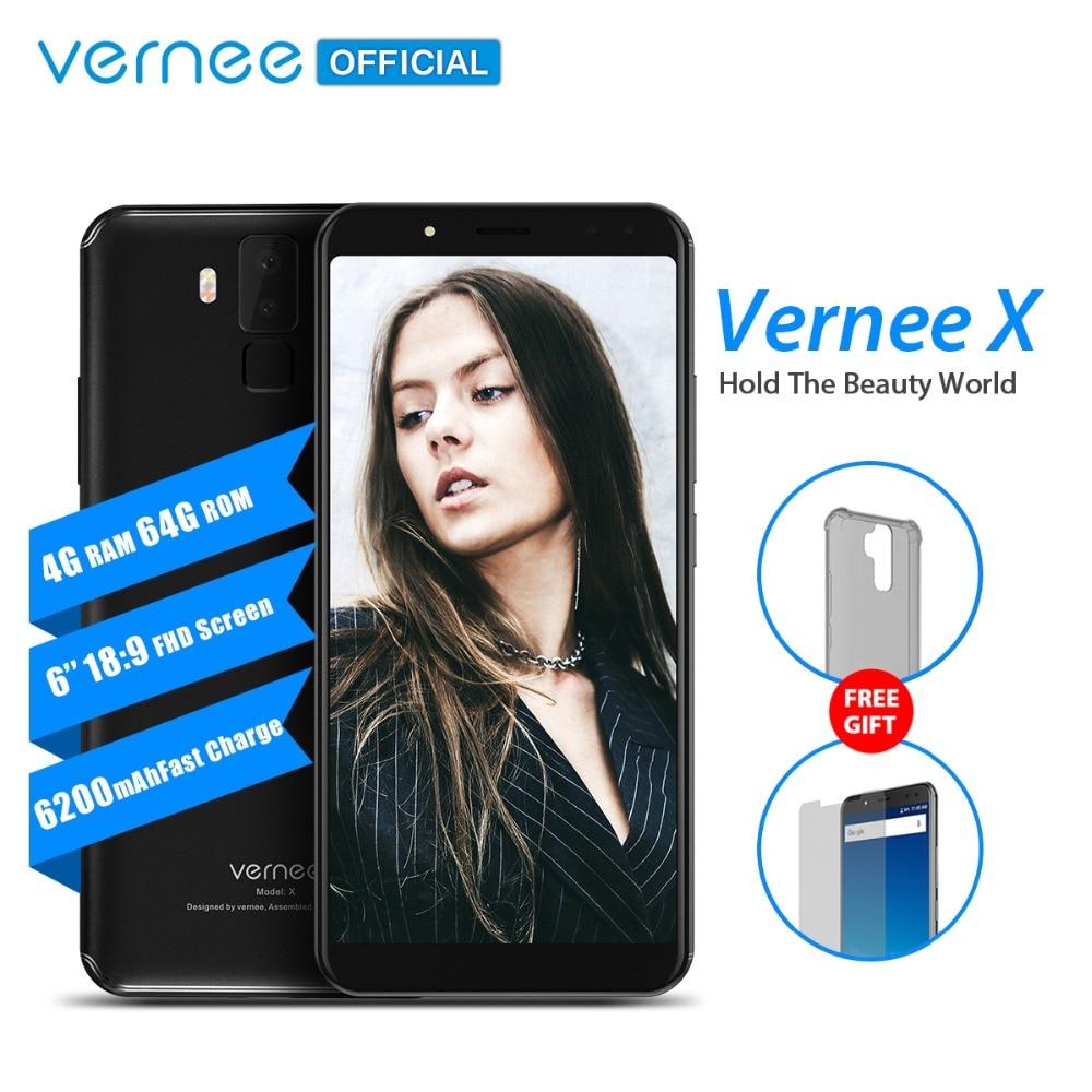 Vernee X 6,0 pulgadas 18:9 FHD Pantalla Completa Smartphone 4G LTE cara ID 4 GB RAM 64 GB ROM MTK6763 Octa Core 16,0 MP 6200 mAh teléfono móvil