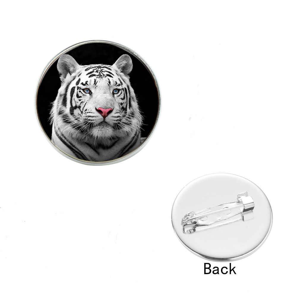 SONGDA диких животных броши значки белый голова тигра стекло кабошон с фото воротник из джинсовой ткани нагрудные шпильки Кнопка Металл изысканные ювелирные изделия