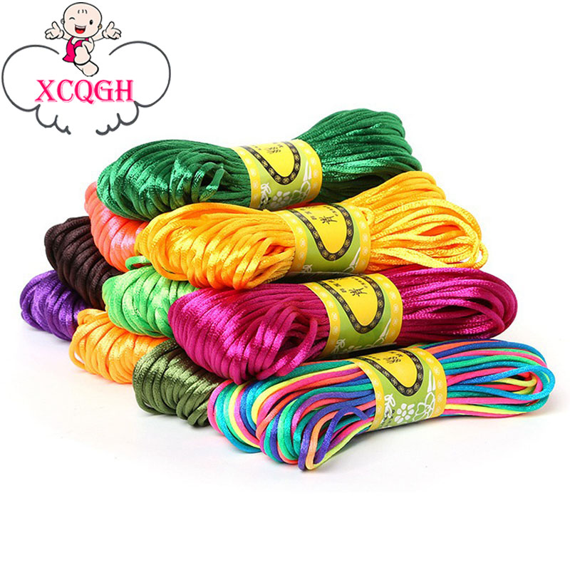 XCQGH 20Meters Satin Silk Rope Nylon Cord For Baby Teether Accessories Teething Necklace Rattail Cord DIY Teething Or Sensory Ne