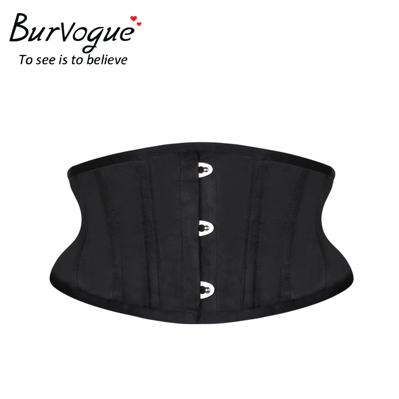 Burvogue Women Corset Underbust 26 Steel Boned Satin Corsets and Bustiers Plus Size Waist Trainer Control Belt for Weight Loss graceful blue lace up underbust steel boned corset for women