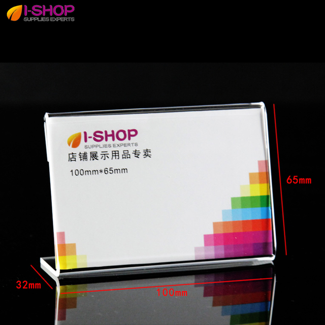 l shape slanted sign holder portrait counter display price holders business card holder name card holder - Business Card Display