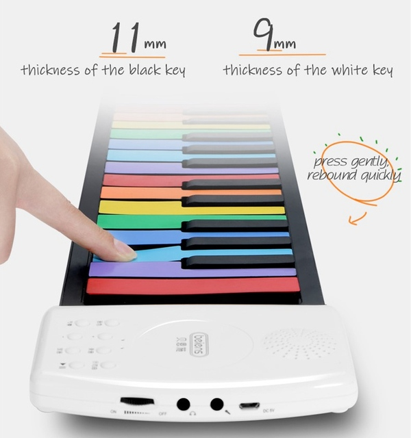 Beiens Portable 49 Keys Digital Keyboard Roll Up Piano Silicone Electric Hand Piano Gift for Kids