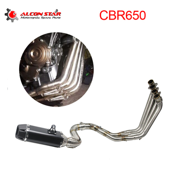 Alconstar-Motorcycle Full Exhaust Systems Muffler Middle Header Pipe with Sensor for Honda CBR650F CBR650 CB650F Slip-On Racing