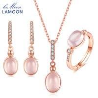 LAMOON 6x8mm 100% Natural de la Piedra Preciosa Oval Huevo de Cuarzo Rosa 925 Joyas de Plata de La Joyería Set V021-1