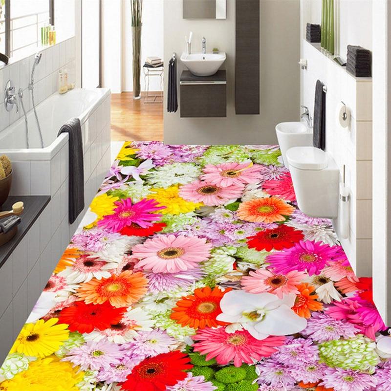 Custom 3d Floor Wallpaper Flowers Road Bathroom Kitchen: Custom Mural Wallpaper Colorful Flowers Bedroom Bathroom