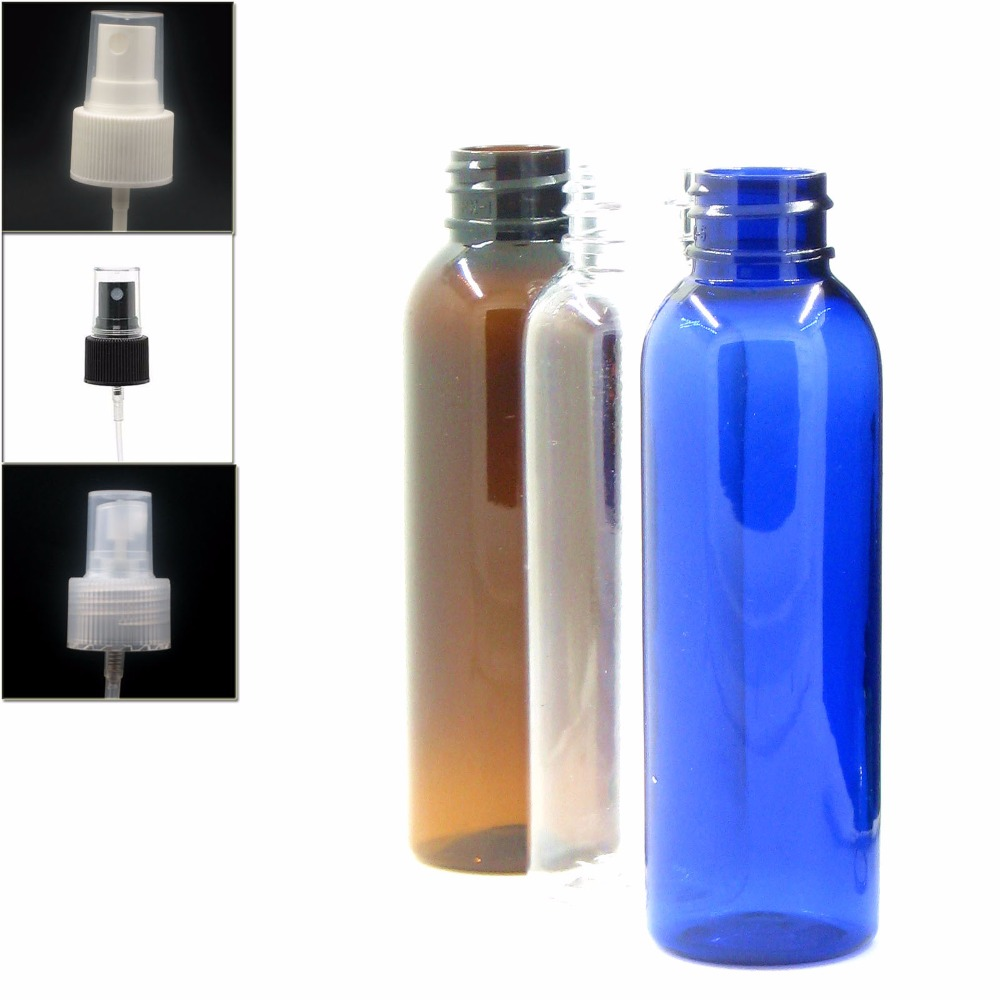 60ml/2oz Empty Cosmo Round Plastic Bottle, Clear/blue/amber Pet  Bottle With Transparent/black/white Fine Mist X5