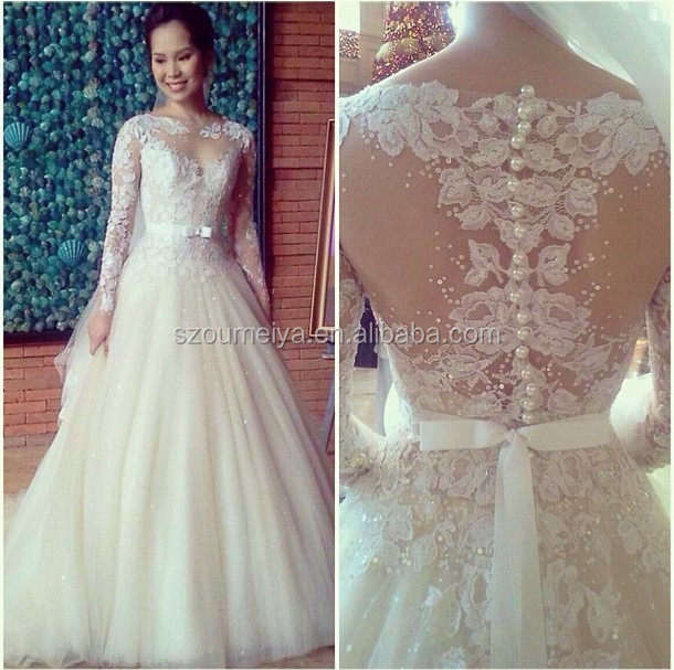 Wedding Gowns For 2015: OW76 Vintage Lace Bling Bling Princess Sheer Long Sleeve