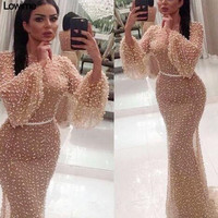 2018 Muslim Sexy Long Sleeves Evening Dresses 2018 Mermaid Full Pearls Turkish Arabic Dubai Middle East Evening Prom Party Dress