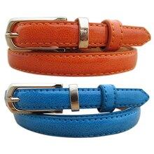 New Women Thin Faux Leather Belt Cummerbund Candy Tone Buckle Casual Waistband Strap BDI5
