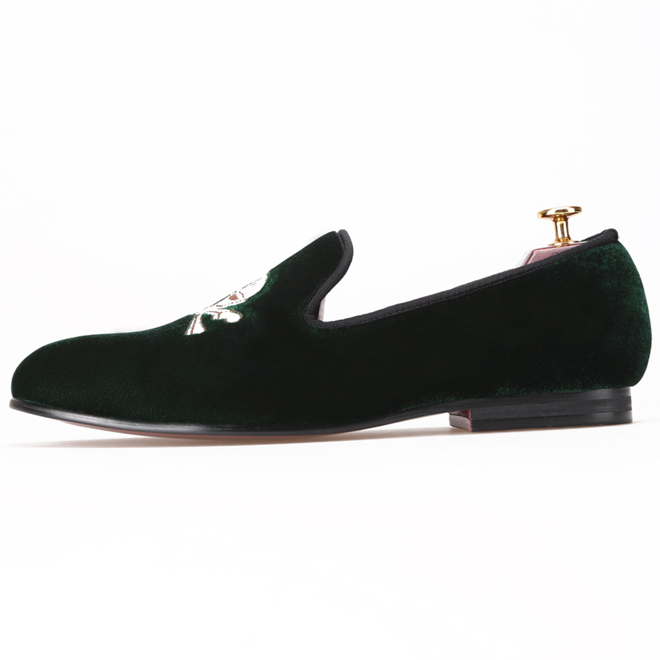 verde nero pantofole 4 mocassini il di us ricamati 17 faccia caldi cranio scarpe di 2016 matrimonio modello con vendita in uomini velluto e dimensione festa qg4FS