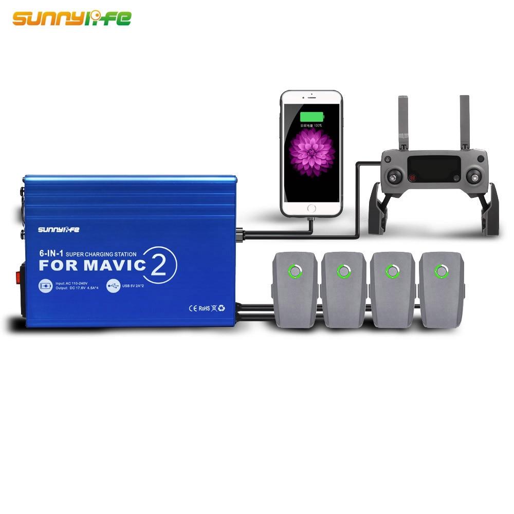 6-IN-1 Mavic 2 pro Batteria Caricabatteria con USB Stazione di Ricarica Hub Remote Controller charger/per DJI MAVIC 2 PRO e ZOOM Drone