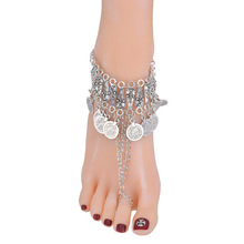 Vintage Women Retro Coin Tassel Anklets Sandals Brides Shoes Barefoot Summer Beach Jewelry Gifts @M23