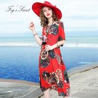 Для женщин натурального шелка платье моды большой Размеры китайский Стиль женщин Расширенный качество красный печати шелковое платье ориг