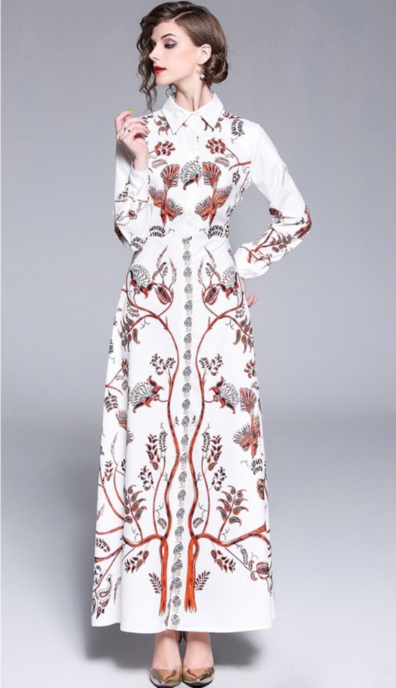 6e80d89196 Shirt Dress Women Leaf Floral Bird Summer Autumn Dresses Long Sleeve Maxi  Dress White Robe Femme