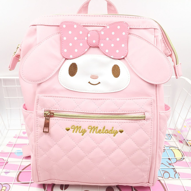 News Cartoon Cute Genuine My Melody Backpack Hellokitty Bag High Quality Pu Pink School Bags Melody Travel Bag For Girls Gift