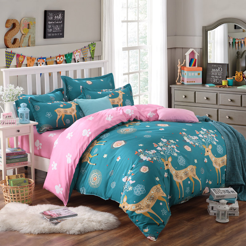 Greatest deer bedding set kawaii giraffe duvet cover for kids bed sheets  BN82