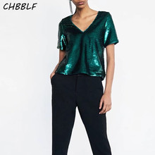Summer new European women tops fashion  sequined T-shirt green loose female casual top mujer XDL1161