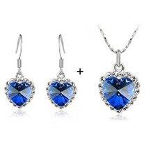 Austrian Crystal – Heart Heart of Ocean Crystal Necklace Earrings Set 4018 Jewelry Set
