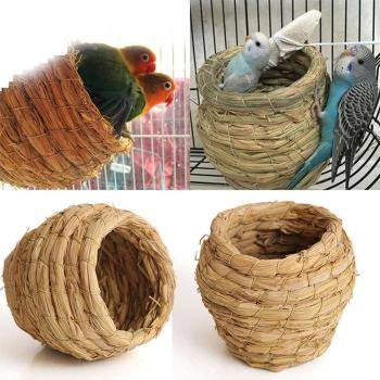 SaiDeng Straw Bird Nest House Animals Bird House Parrot Nest Cages Bird Pigeon Breeding Nest -30