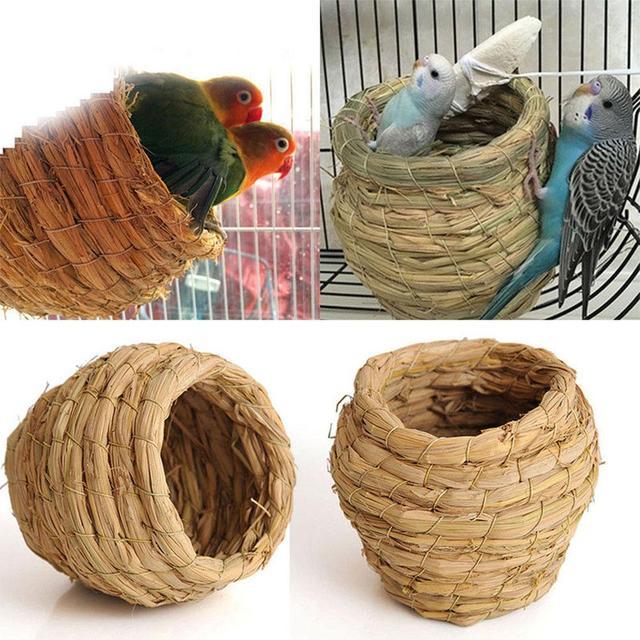 SaiDeng Straw Bird Nest House Animals Bird House Parrot Nest Cages Bird Pigeon Breeding Nest -30