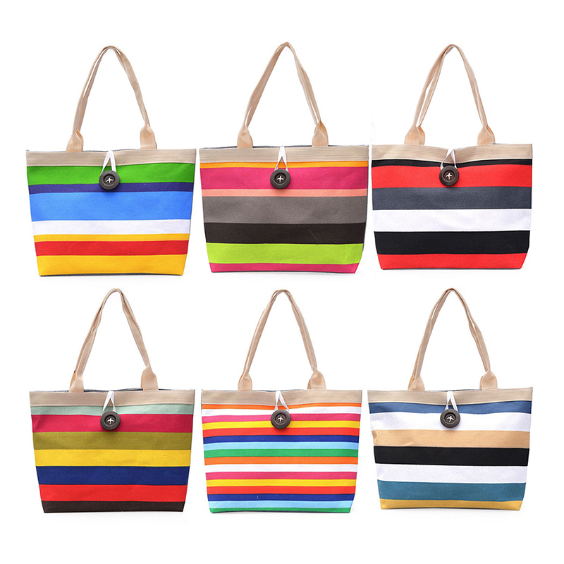 1 Pc Shopping Handbag High Quality Women Girls Canvas Large Striped Summer Shoulder Tote Beach Bag Colored Stripes