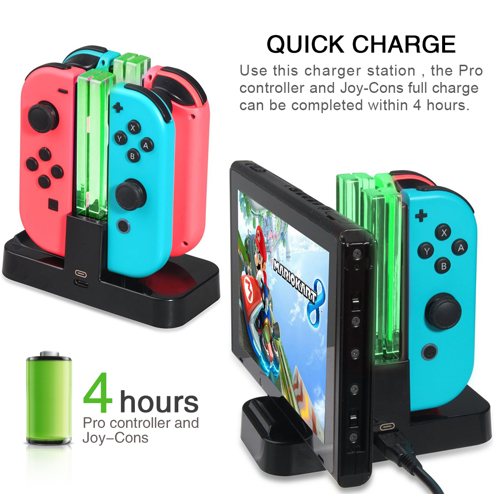Joy-Con Pro Charging Dock 4 in 1 USB Gamepad Stand Type C Charger LED Indication for Nintendo Switch Game Dualshock Controller  Joy-Con Pro Charging Dock 4 in 1 USB Gamepad Stand Type C Charger LED Indication for Nintendo Switch Game Dualshock Controller