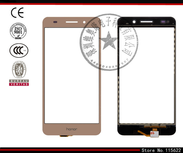 Touchscreen for Huawei Honor 5A, Y6 II Digitizer Glass Panel Front Glass Lens Sensor with Logo (black,white,Golden)