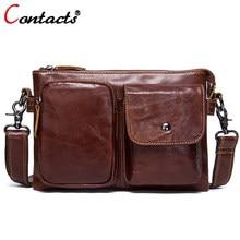 9bb05ab68ed5 CONTACT'S Натуральная кожа Мужская сумка Планшеты Мужская сумка портфель  сумка мужская кожаная мужские дорожные сумки старинные