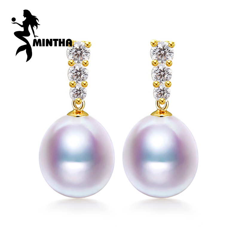 MINTHA 18k gold earrings pearl jewelry, Antiallergic 18K yellow Gold drop earrings For Women 2017 New Fashion long earrings браслет на ногу other 18k