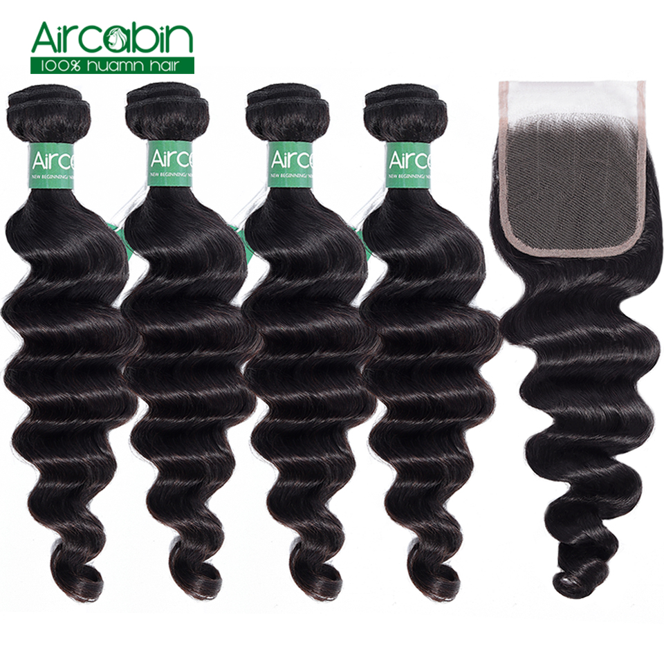 Aircabin Loose Deep Wave Bundles With Closure Remy Human Hair 3/4 Bundles With Closure Malaysian Hair Weave Bundles With Closure