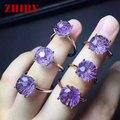 Природный аметист камень кольцо Подлинная твердого тела 925 стерлингового серебра женщины gemstone ювелирные изделия Фейерверк cut