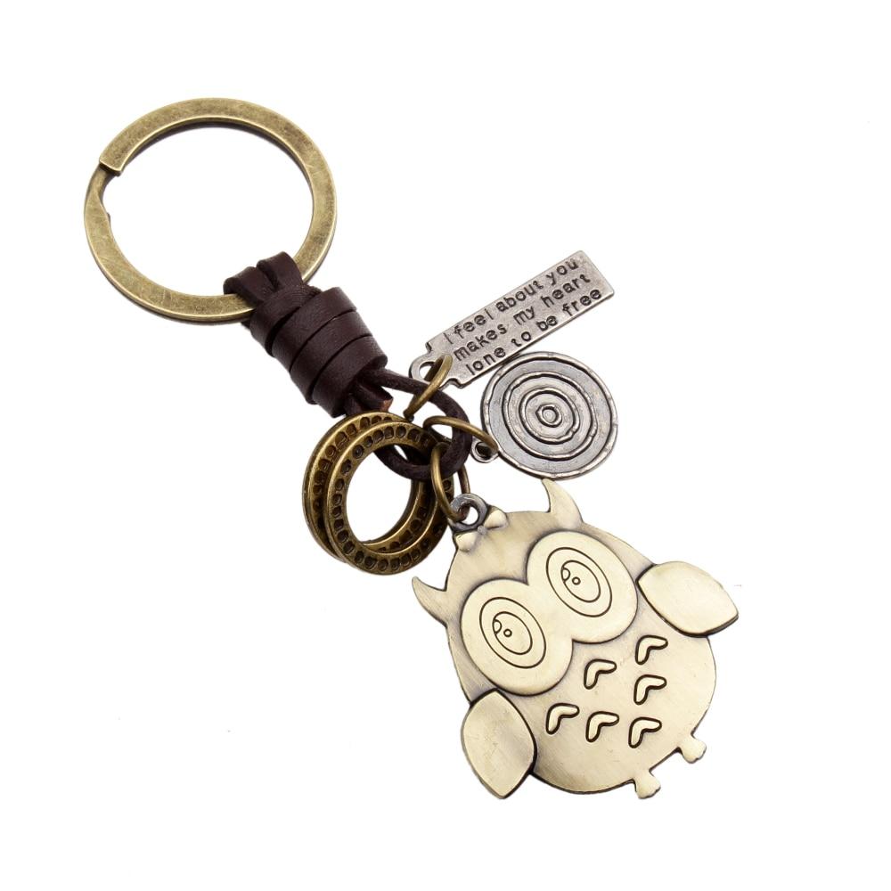 New Creative Hot Sale Bronze Key Chain bronze Owl Pendant Fashion Keychains Car Keyrings Accessories Women Bag Charm Trinket