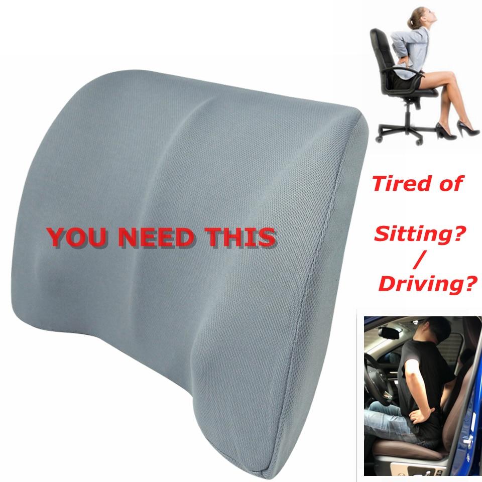Coussin lombaire pour siège   Mousse à mémoire de forme, en maille de coton, pour Support lombaire de voiture, chaise de bureau pour les masseurs de voyage en auto, pour la maison
