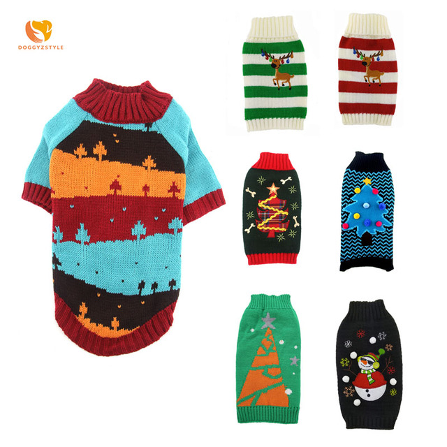 NEW Pet Dog Xmas Sweater Clothes Winter Dogs Christmas Tree Costumes For Chihuahua Yorkshire Cat Knitted Hoodies DOGGYZSTYLE