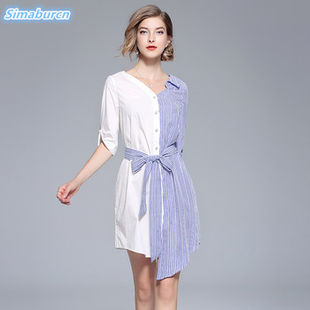 047793747fa US  26.79. 2018 Fashion Blue Striped Women Shirt Dress ...