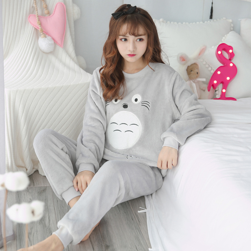 Pajama   Women Thick Flannel Warm Female Winter   Pajama     Set   Dream Animal Print Long Sleeve Full Trousers Two Piece 2018 Top Fashion