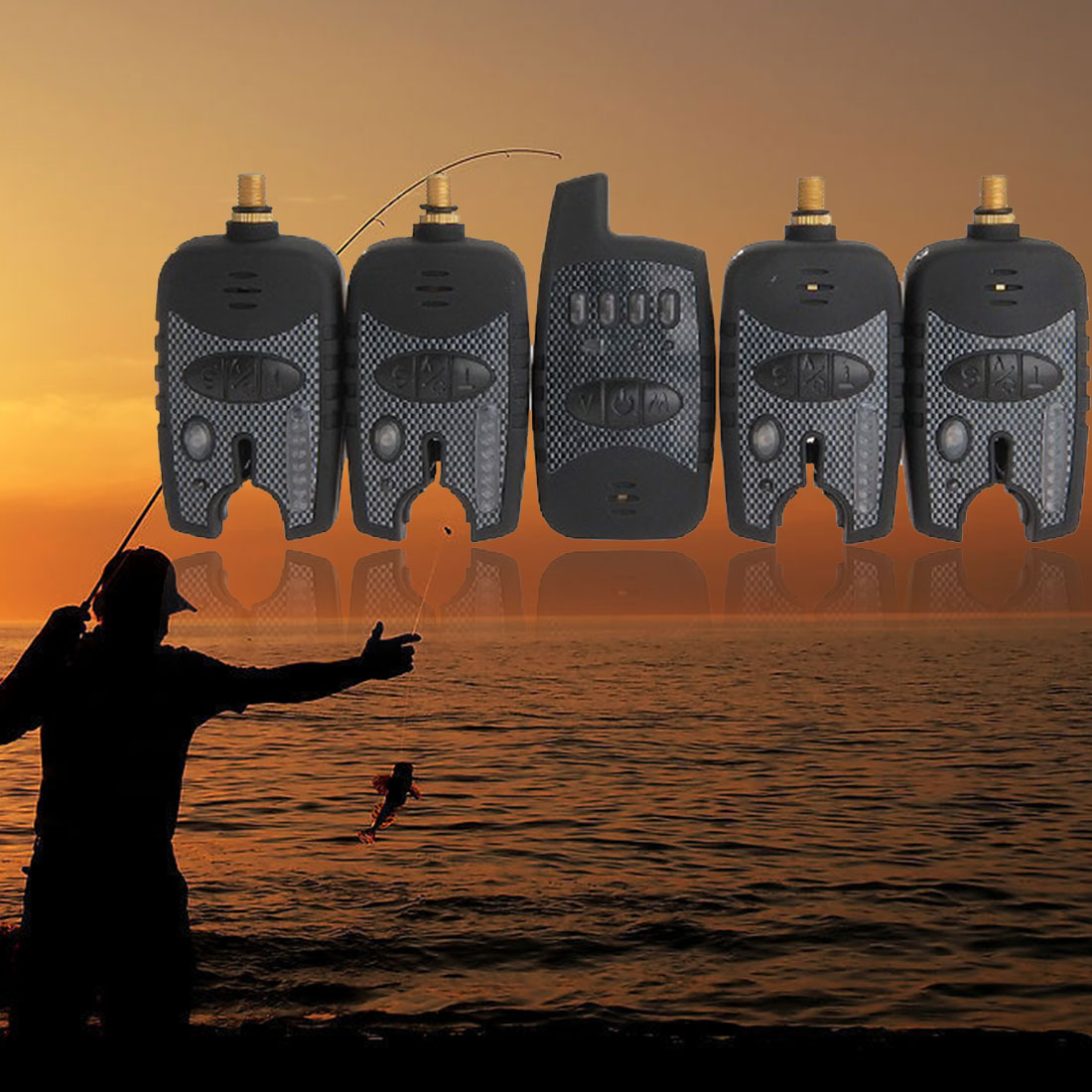 2018 Hot Sale New Fishing Tackle Set 4 PCS Wireless pesca Carp Bite Alarm Alert + Receiver 2018 new durable set 4 pcs wireless blue led fishing pesca bite alarms receiver black
