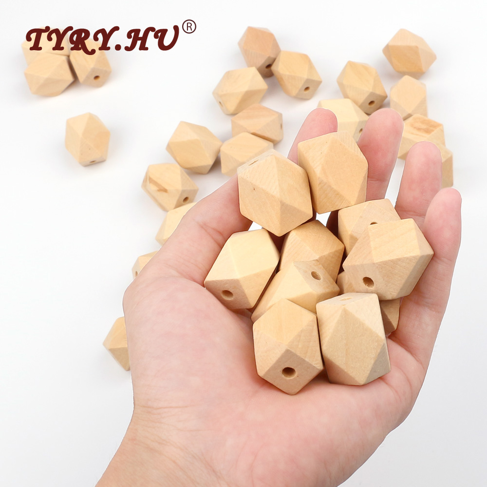 TYRY.HU Non-Toxic Safe Chewable Baby Teethers Wooden Beads  Infants Dental Care Nursing Training Toys Natural Long Hexagon 10Pcs