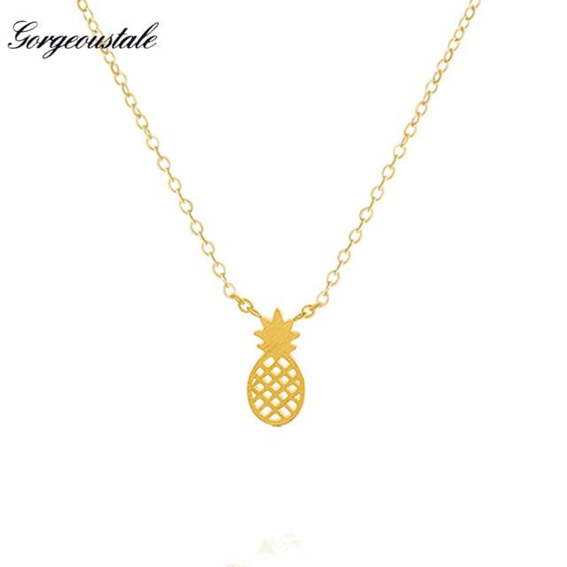 Magnífico cuento de joyería de la vendimia oro plateado bohemia gargantilla collar para las mujeres de la cadena de piña acero inoxidable bijoux femme