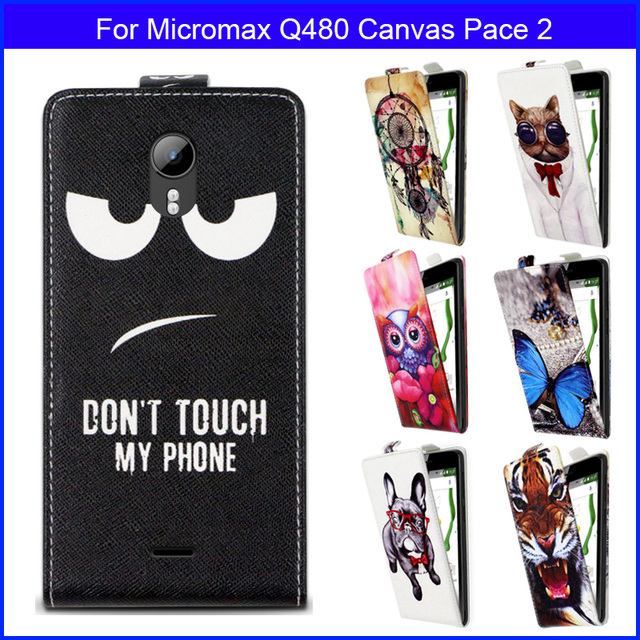 Factory price Fashion Patterns Cartoon Luxury Flip up and down PU Leather Case for Micromax Q480 Canvas Pace 2,Free gift
