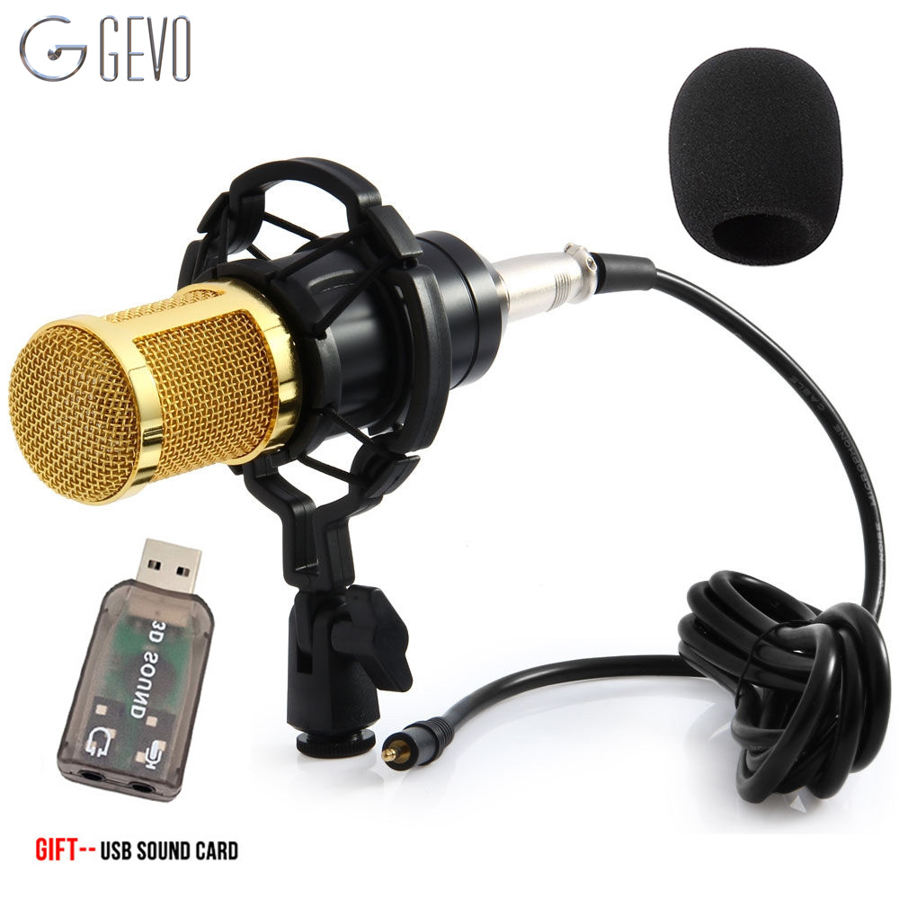 GEVO BM 800 Condenser Microphone For Computer Wired 3.5mm XLR Cable With Shock Mount Studio Microphone For PC Karaoke BM800 Mic heat live broadcast sound card professional bm 700 condenser mic with webcam package karaoke microphone