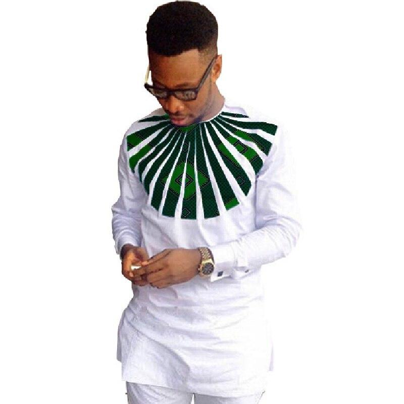 Homens da Moda Camisas de Manga Jogo de Impressão o Pescoço Africano Ankara Dashiki Longa Camisas Brancas – Cera Tops Personalizado Atividade Desgaste
