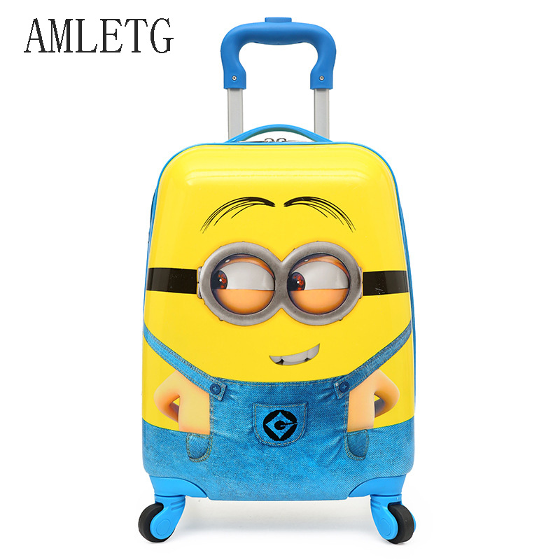 AMLETG 2018 Cartoon Kids Travel Trolley Bags Suitcase For Kids Children Luggage Suitcase Rolling Case Travel
